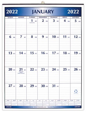 2019 Metal Bound Wall Calendar 16 x 21
