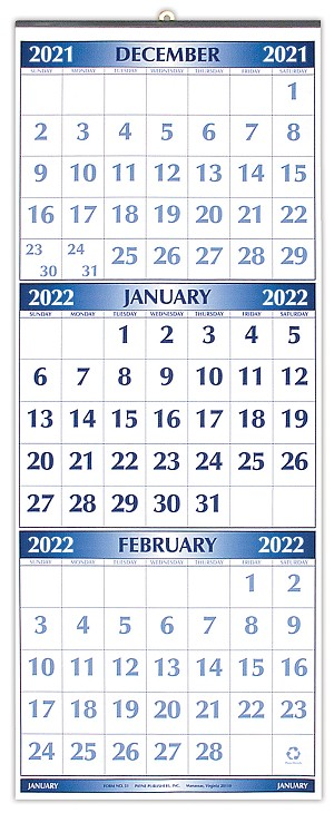 2021 Metal Bound Three Month Calendar 11 x 26