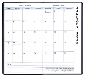 2020 Refill for MBU-13 MBU-15 and MBU-17 Upright Monthly Planners 3.5 x 6.5