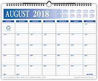 2018-2019 Academic 17 Month Color Wall Calendar 11 x 14 Wire Bound
