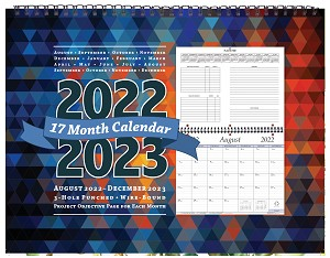 2020-2021 Academic 17 Month Calendar 4 Color Cover 8.5 x 11 Wire Bound